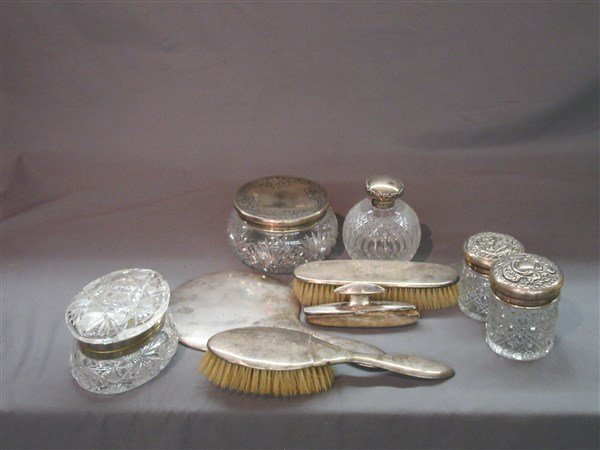 Nine (9) English & American Silver Vanity Objects