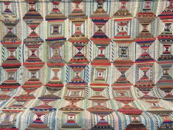 American Courtyard Steps Quilt 19th C.