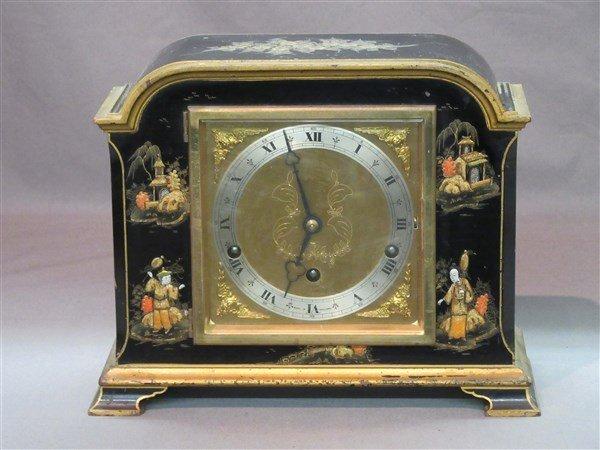 Black Lacquer English Mantel Clock by Elliot ,