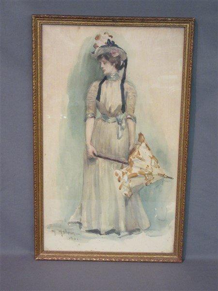 1901 Victorian Watercolor Portrait