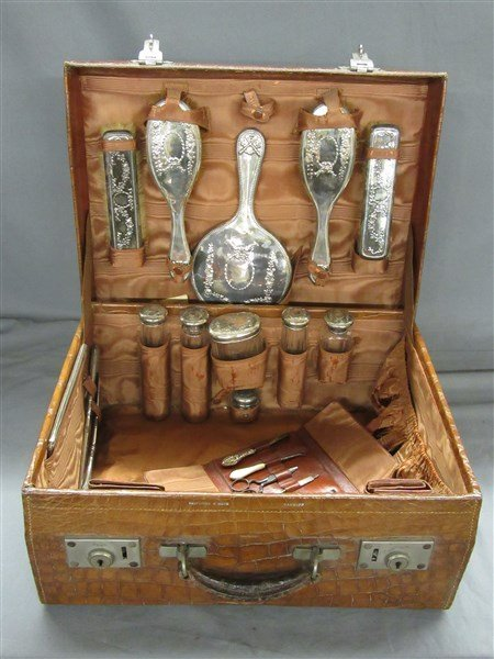 English Sterling Silver Travel Set, Crocodile Case