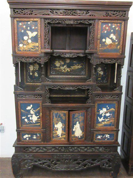 19th Century Chinese Carved Etagere