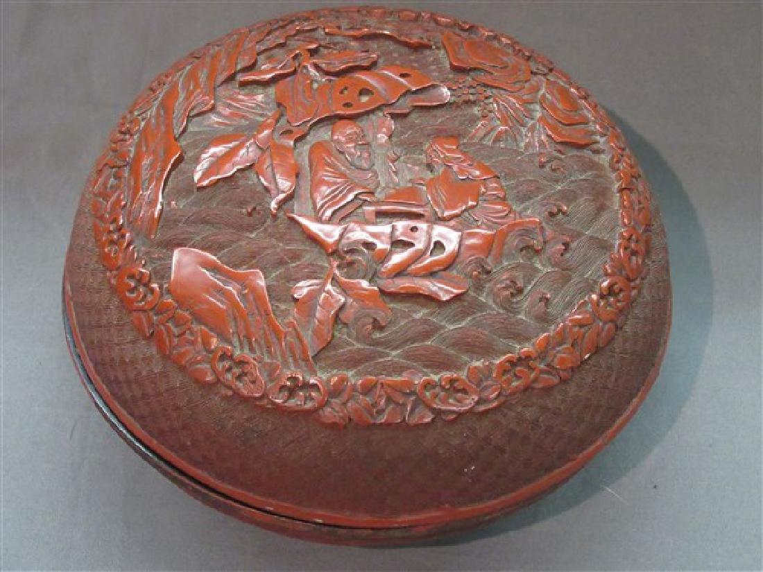 A Carved Cinnabar Lacquer Box