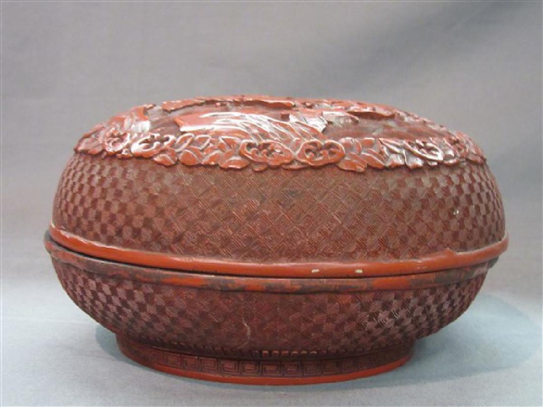 A Carved Cinnabar Lacquer Box - 8