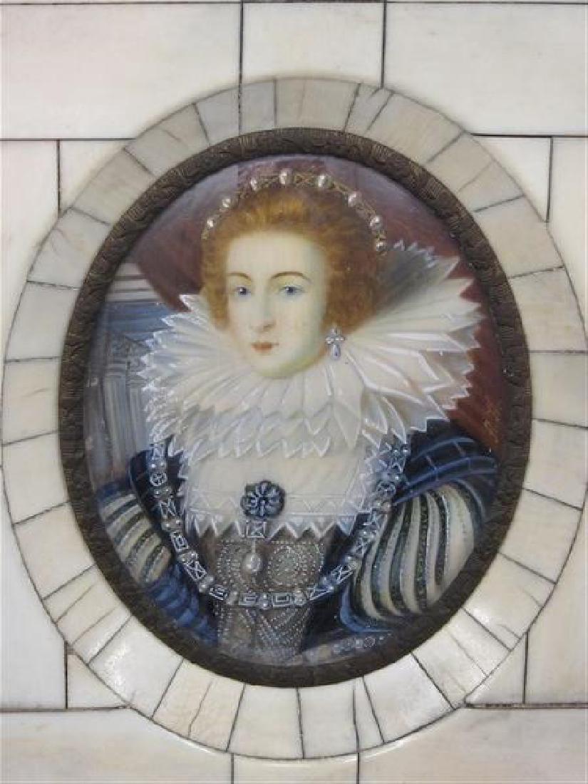 Miniature Oil Portrait Queen Elizabeth