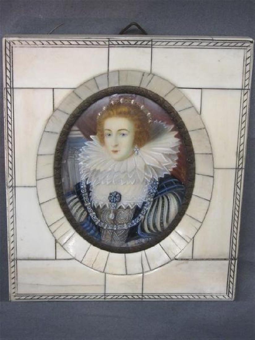 Miniature Oil Portrait Queen Elizabeth - 2
