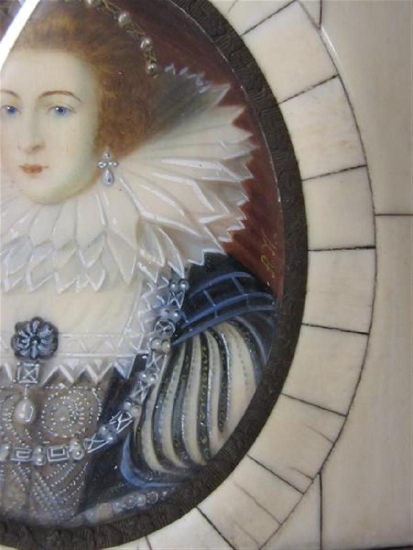 Miniature Oil Portrait Queen Elizabeth - 3