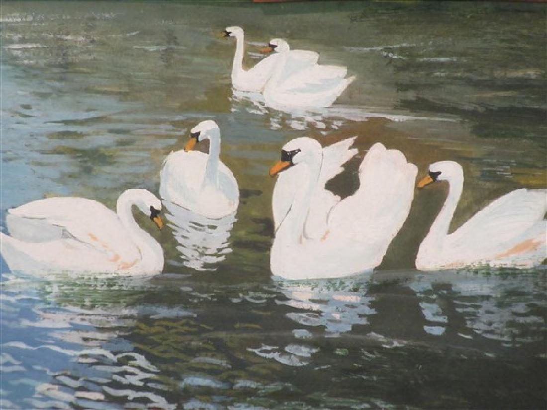 Arthur Heyer (German 1872-1931) Swans - 2