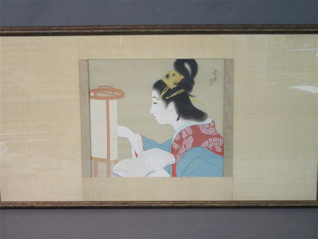 Japanese Geisha Girl Painting on Silk
