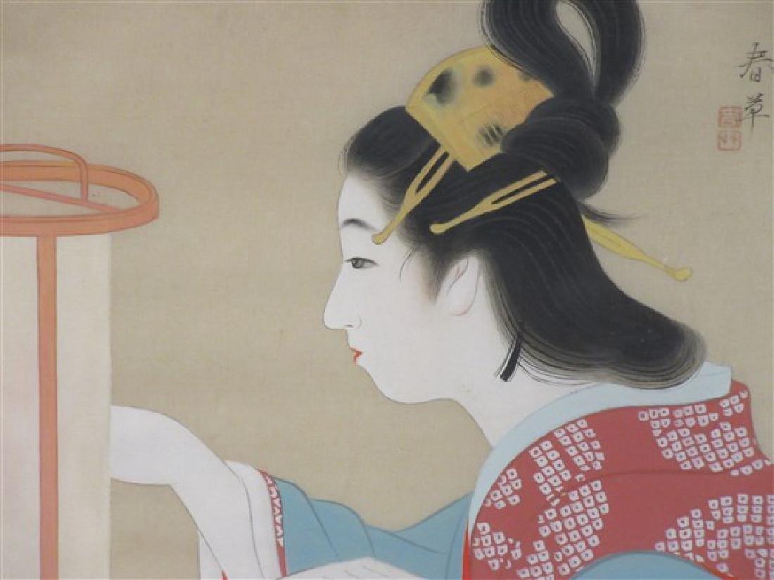 Japanese Geisha Girl Painting on Silk - 2