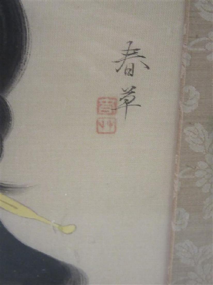 Japanese Geisha Girl Painting on Silk - 3