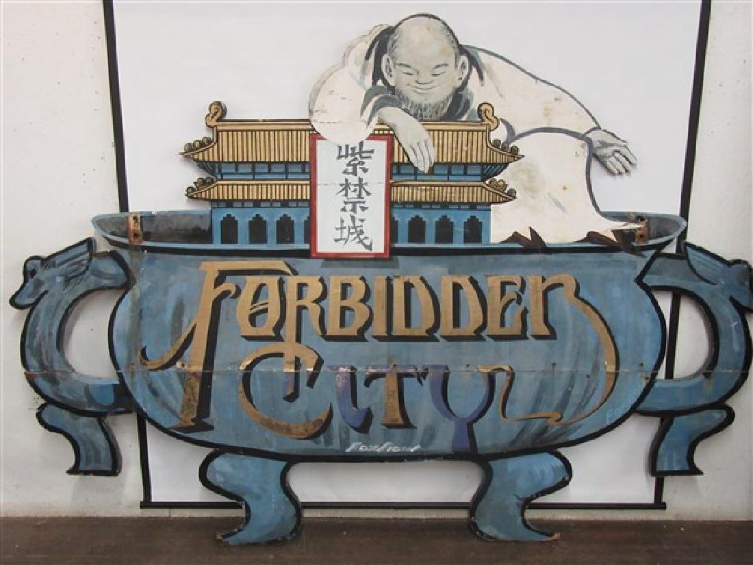 "1940's Original NYC Chinatown Sign ""Forbidden City"""