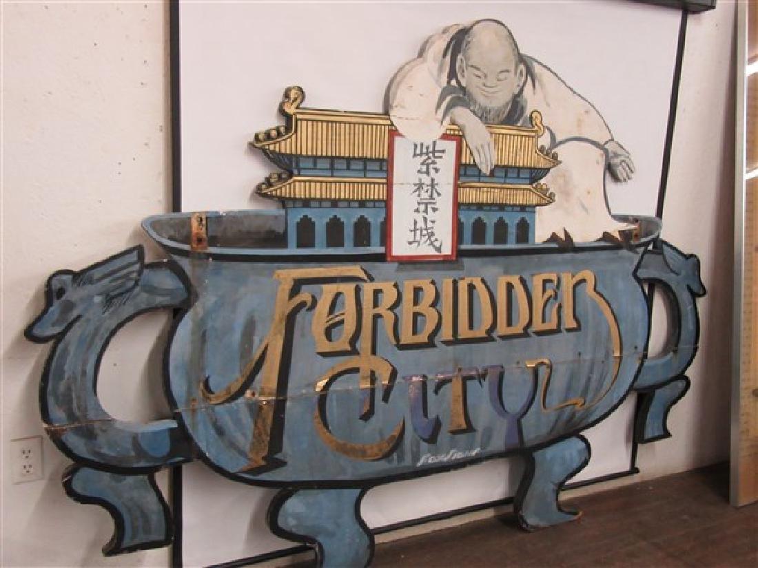 "1940's Original NYC Chinatown Sign ""Forbidden City"" - 7"