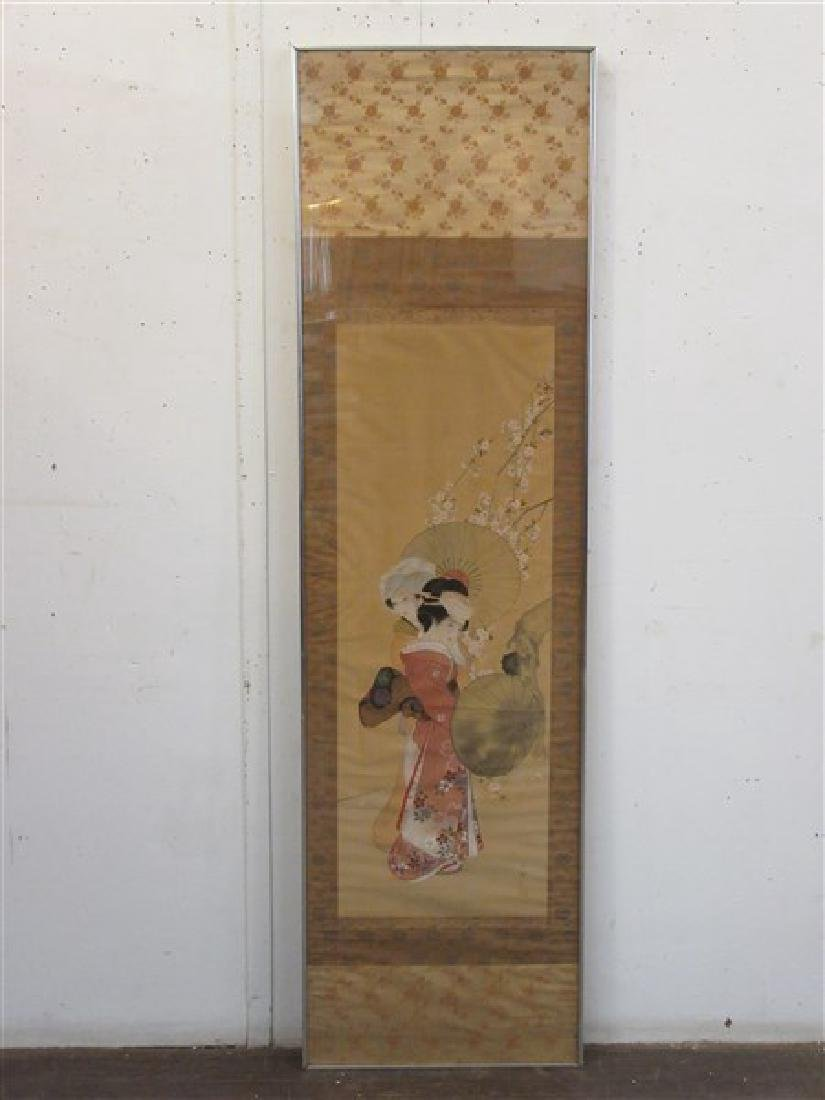 Japanese Silk Geisha Girls Scroll