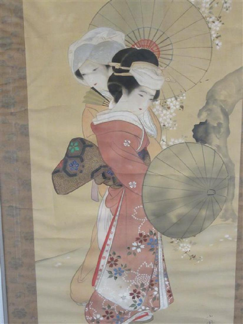 Japanese Silk Geisha Girls Scroll - 3