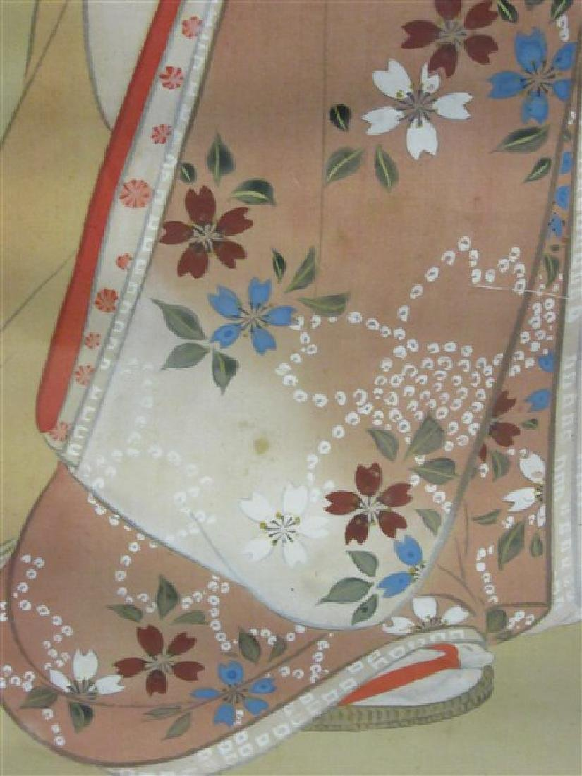 Japanese Silk Geisha Girls Scroll - 4