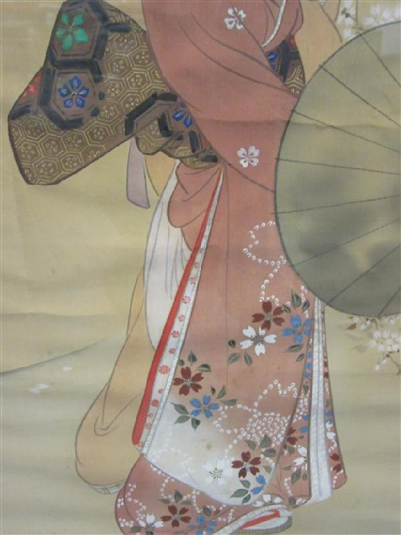 Japanese Silk Geisha Girls Scroll - 5