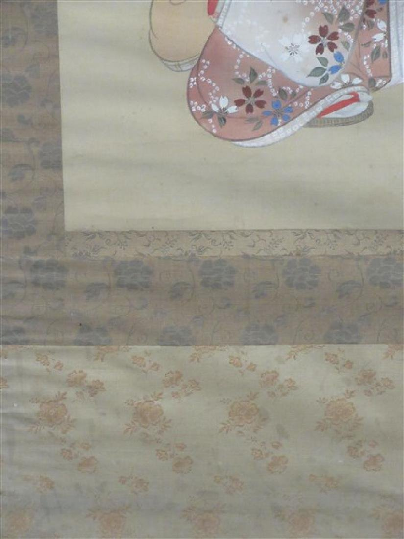 Japanese Silk Geisha Girls Scroll - 7