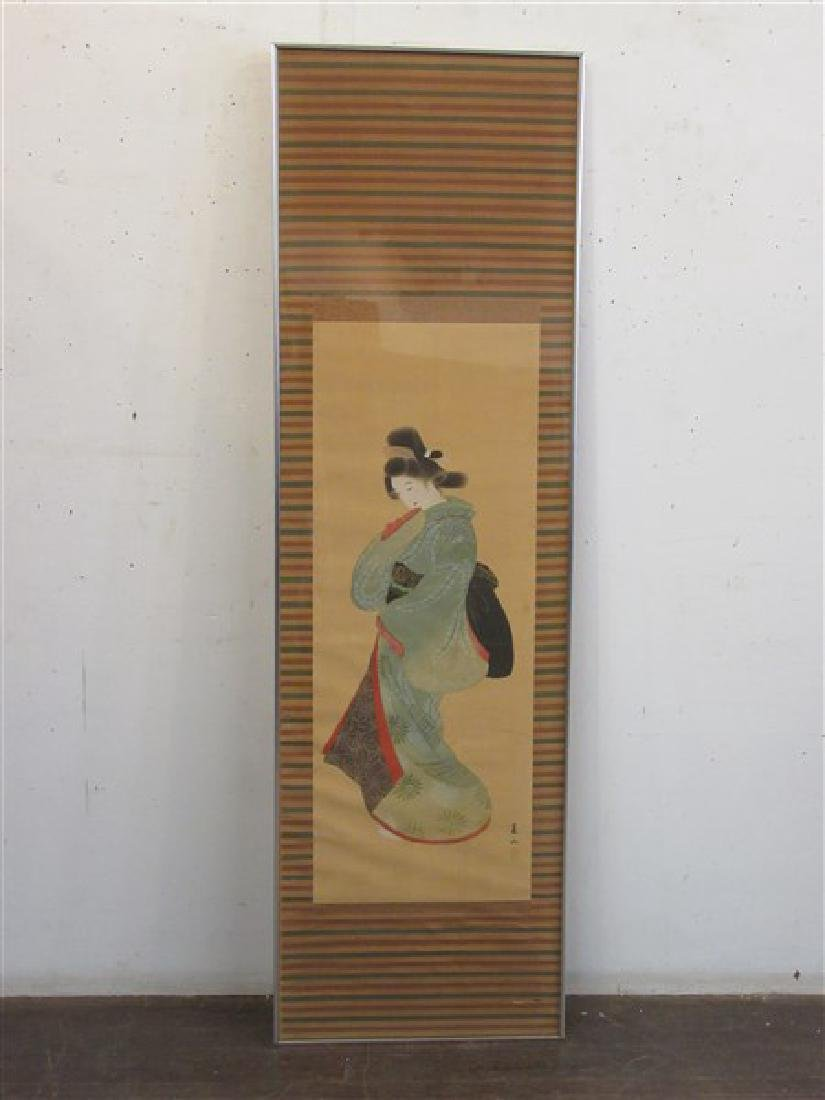 Japanese Geisha Girl Scroll Painting