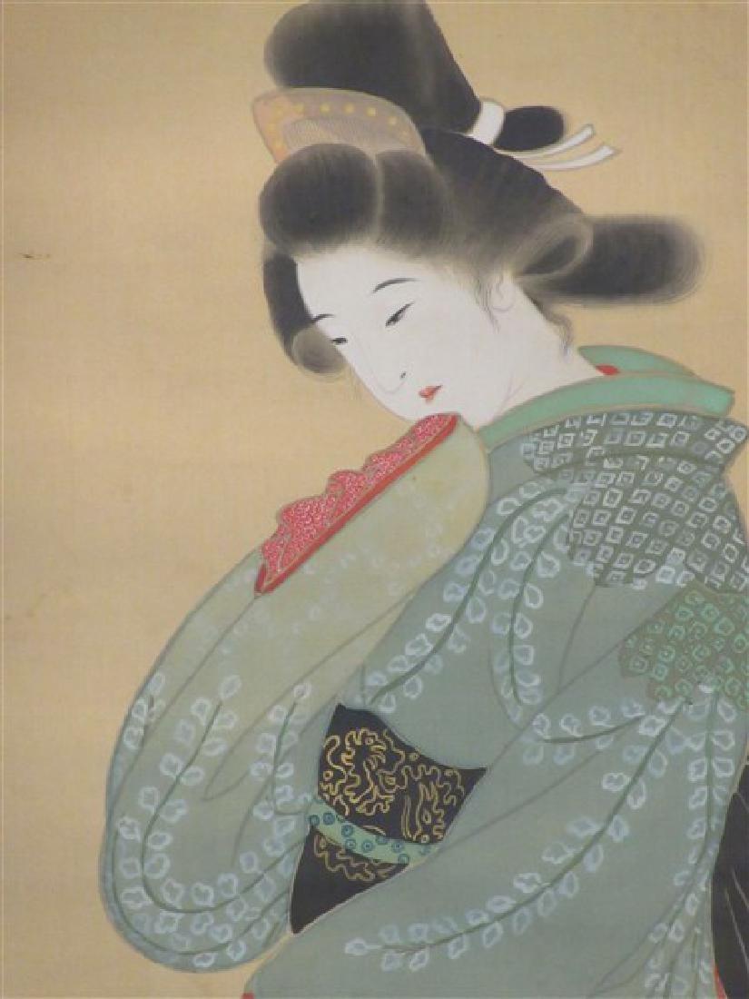 Japanese Geisha Girl Scroll Painting - 2