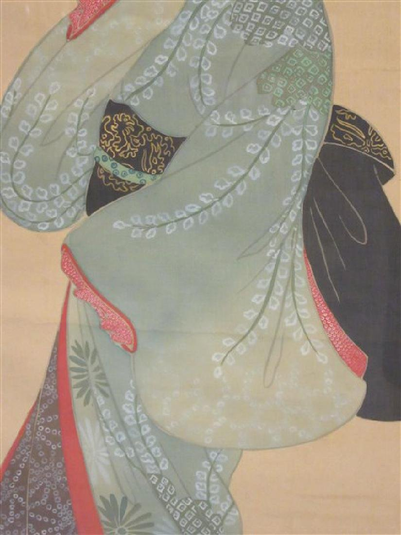 Japanese Geisha Girl Scroll Painting - 3