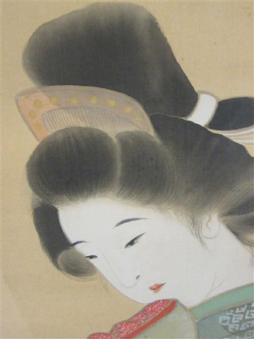 Japanese Geisha Girl Scroll Painting - 6
