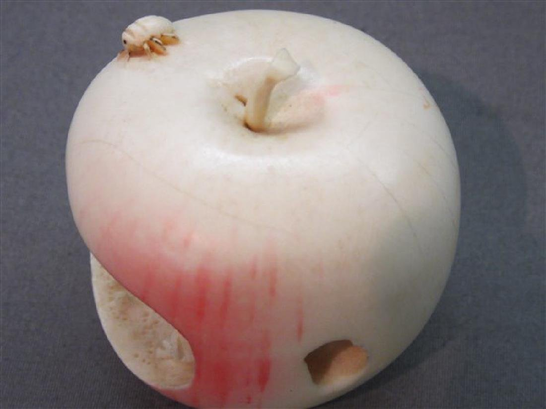 Japanese Carved Apple with Bug - 4