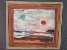 C 1964 Oil on Board Abstract Sunset