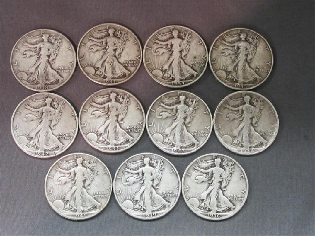 Eleven (11) Piece Walking Liberty Silver Half Dollars