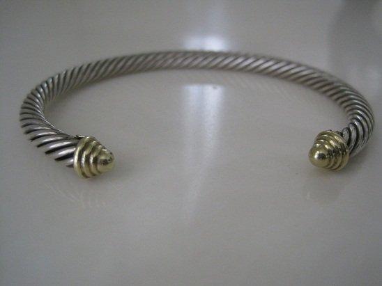 David Yurman Cable Classics Cuff Bracelet w/Gold Caps