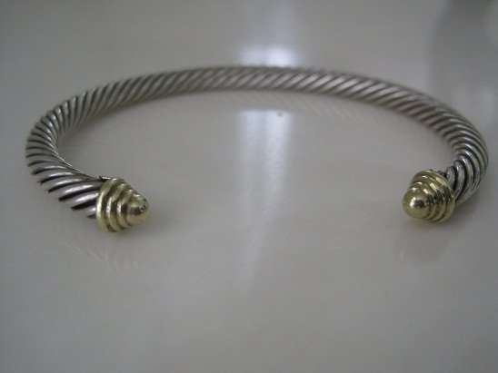 David Yurman Cable Classics Cuff Bracelet w/Gold Caps