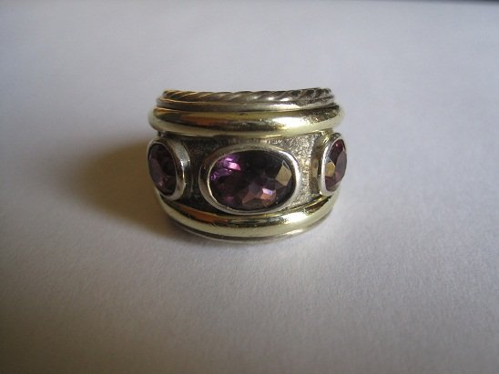 David Yurman 925/14K Amethyst/Pink Tourmaline Ring Sz