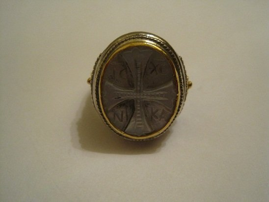Konstantino 925/18K Mother of Pearl Carved Cross Ring