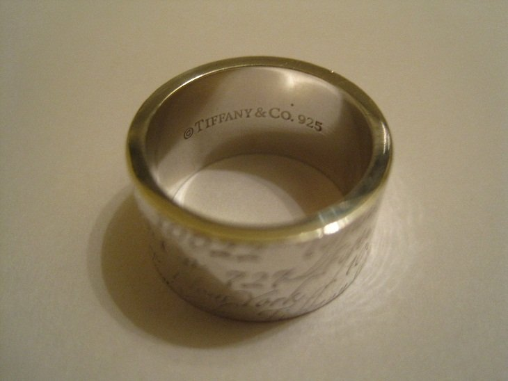 Tiffany & Co Sterling 727 Fifth Ave New York Wide Ring - 2