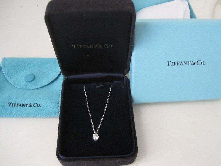 Tiffany & Co Platinum .33 Solitaire Diamond Pendant