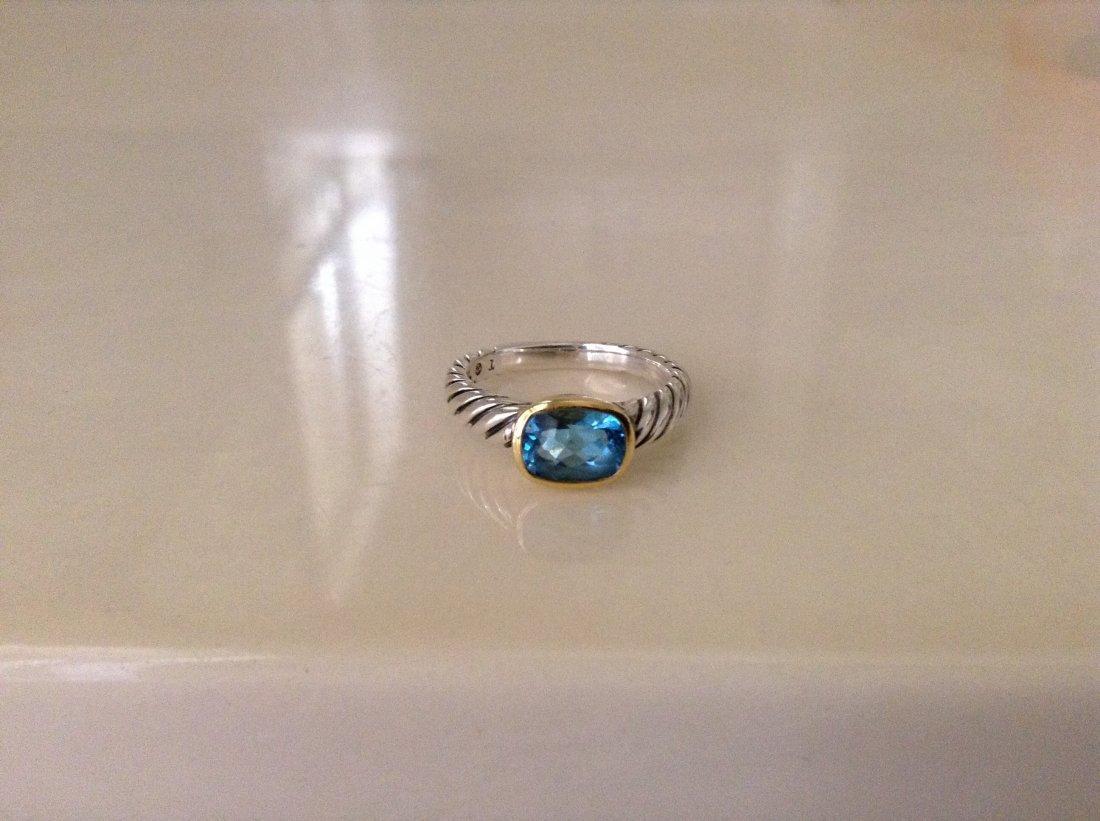 David Yurman Albion Blue Topaz Ring Size 7`