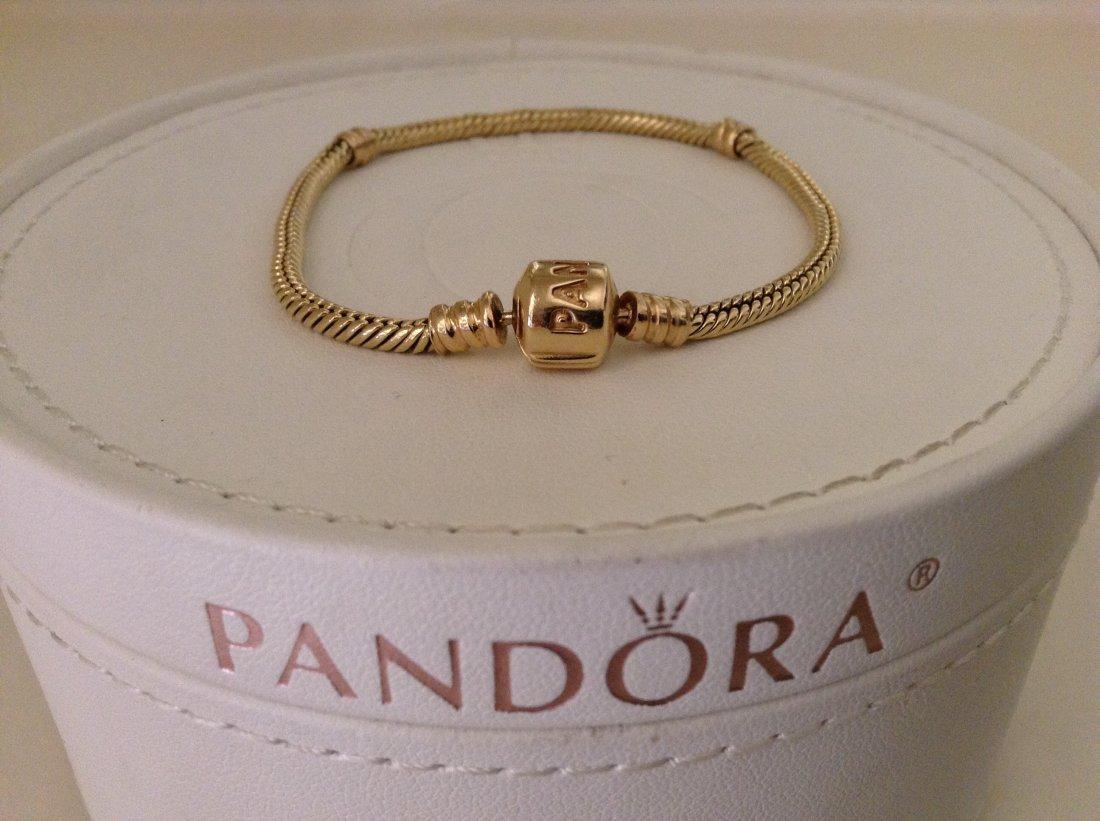 "Pandora 14K Yellow Gold Charm Bracelet 7"""