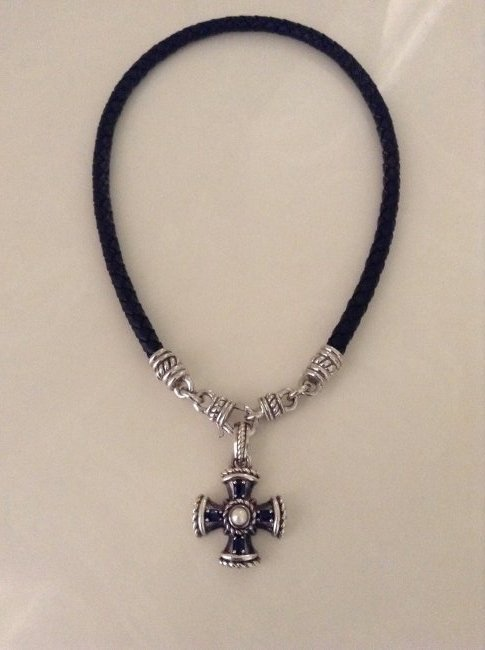 JUDITH RIPKA Sterling Silver Sapphire & Pearl Cross