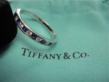 Tiffany & Co. Platinum Sapphire and Diamond Band