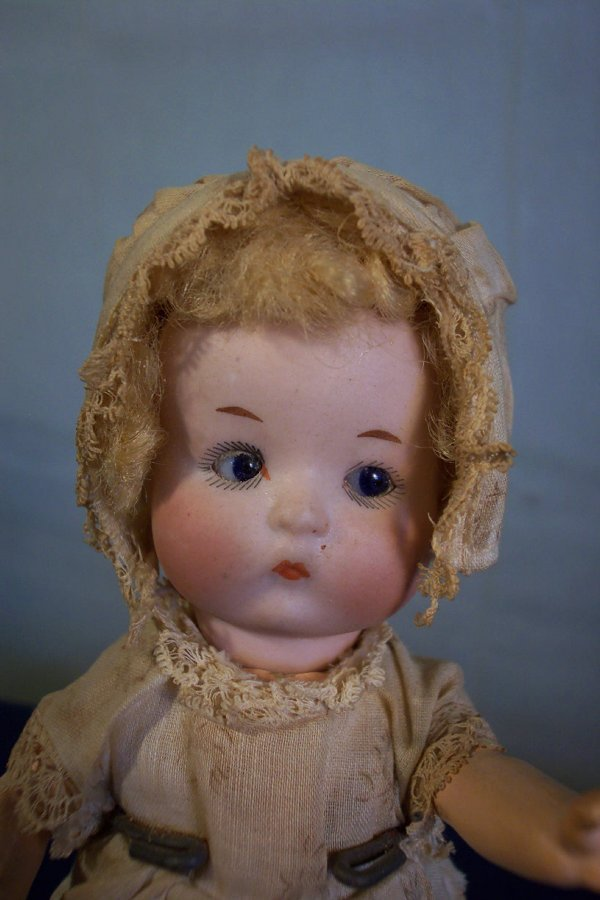 "64: Bisque head baby doll, ""JUST ME"", marked Germany, N"