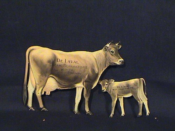 200: De Laval tin advertising cow, skim calf, with orig
