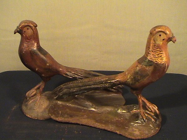 212: Pair of cast iron pheasant bookends, 8 inches long