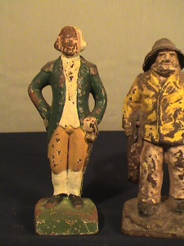 215: Cast iron figurines, fisherman, George Washington - 3