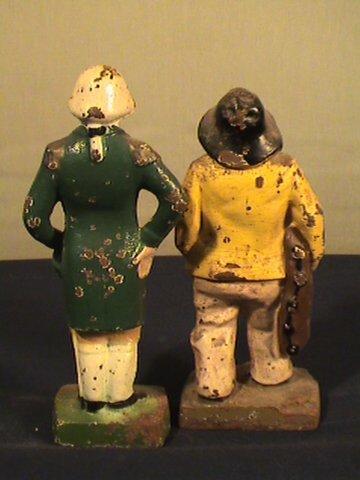 215: Cast iron figurines, fisherman, George Washington - 4