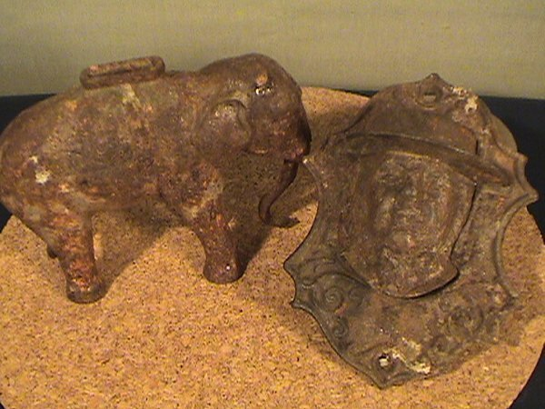 220: Two items cast iron, elephant bank, match holder,