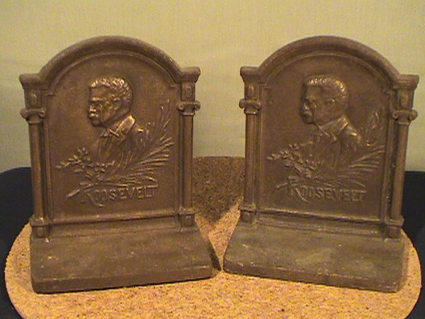 223: Teddy Roosevelt book ends, pair of cast bookends,