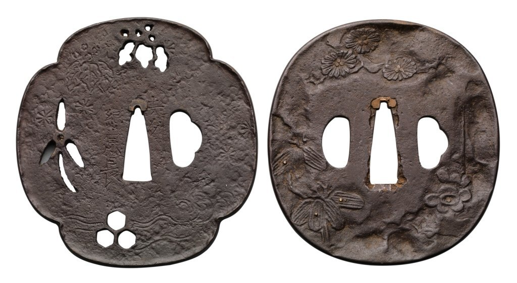 TWO IRON TSUBA, LATE 19TH CENTURY The first a mokko
