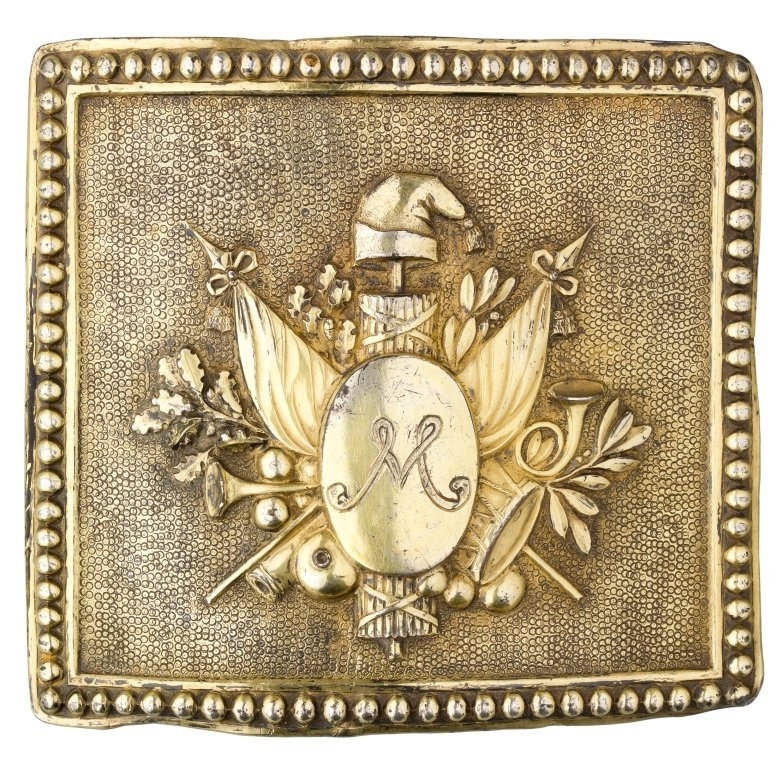 A FRENCH FIRST REPUBLIC GILT METAL BELT BUCKLE, CIRCA