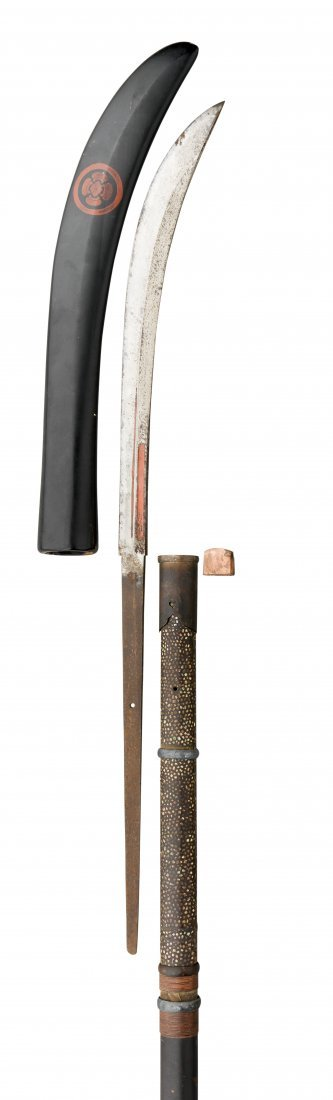A JAPANESE SPEAR (NAGINATA)with curved blade formed
