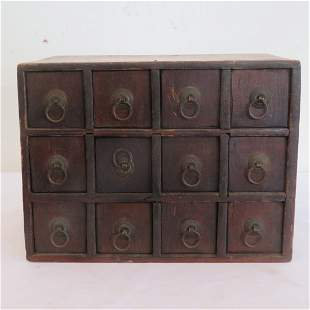 Small wood set of 12 drawers